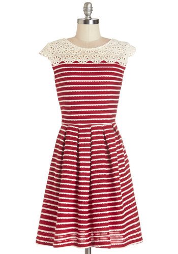 Whirl of Wonder Dress - Red, Stripes, Crochet, Pleats, Casual, A-line, Summer, Knit, Better, Scoop, Mid-length, Tan / Cream, Cap Sleeves