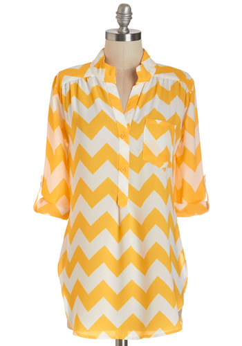 Please Allow Me Tunic in Yellow - Long, Woven, Yellow, White, Summer, Chevron, Buttons, Pockets, Casual, 3/4 Sleeve, Variation, Yellow, Tab Sleeve