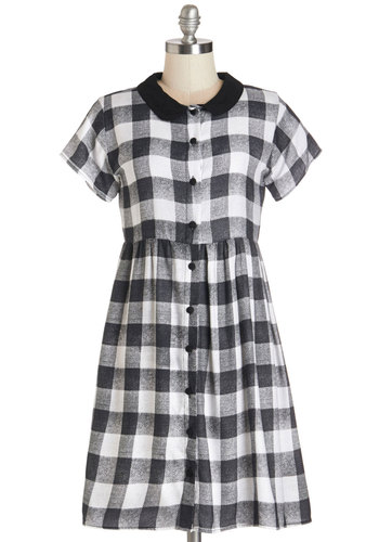 Prowling Around Town Dress in Black Gingham by Motel - Vintage Inspired, 90s, Variation, Black, White, Checkered / Gingham, Buttons, Casual, 60s, A-line, Woven, Better, Collared, Short Sleeves, Mid-length