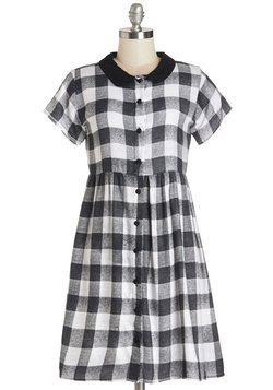 Prowling Around Town Dress in Black Gingham