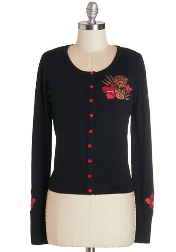 Mai Tai Friday Cardigan - Short, Knit, Mixed Media, Black, Red, Buttons, Patch, Casual, Long Sleeve, Rockabilly, Pinup, Vintage Inspired, 50s, Black, Long Sleeve