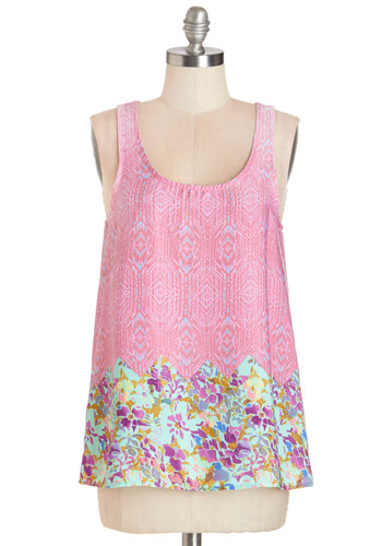 Wonder of Wanders Top - Mid-length, Woven, Pink, Floral, Sleeveless, Summer, Pink, Sleeveless, Tank top (2 thick straps), Scoop