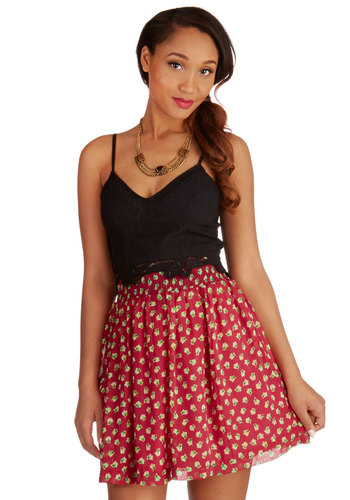 Whimsy is Coming Skirt in Rose - Short, Chiffon, Woven, Floral, Full, Spring, Summer, Red, Red, Casual