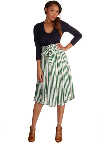 Lawn the Go Skirt - Better, Green, Long, Woven, Stripes, Casual, A-line, Spring, Summer, Green, White, Belted