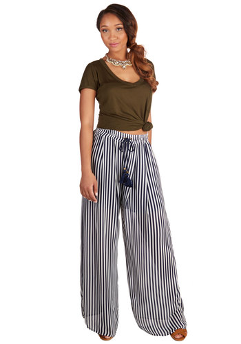 Getting Some Fresh Flair Pants - Chiffon, Woven, Blue, White, Stripes, Casual, Wide Leg, High Waist, Full length, Ultra High Rise