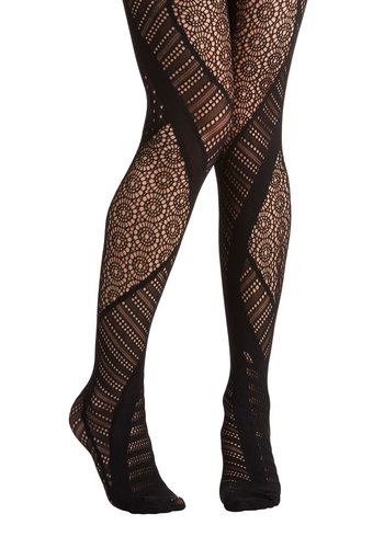 Prominent in Patterns Tights - Black, Solid, Film Noir, Boudoir, Black, Sheer, Knit, Party