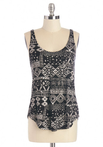 Aspen Afternoon Tank - Black, Sleeveless, Mid-length, Jersey, Knit, Black, Print, Casual, Sleeveless, Summer, Scoop