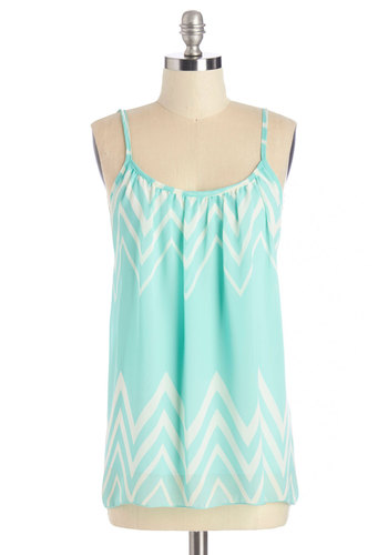 Spindrift Darling Tank - Blue, Sleeveless, Mid-length, Woven, Blue, Chevron, Casual, Daytime Party, Spaghetti Straps, Summer, Backless