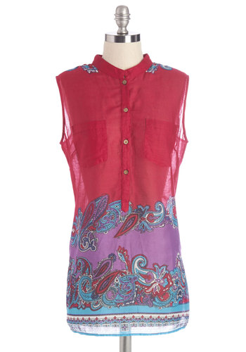 Funk for All Top - Long, Cotton, Woven, Pink, Paisley, Buttons, Summer, Sheer, Pink, Sleeveless, Pockets