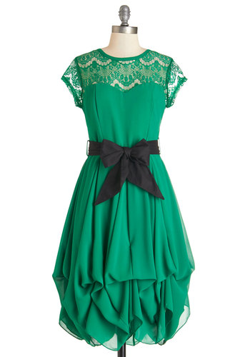 Billow and Bloom Dress in Leaf - Green, Solid, Lace, Belted, Special Occasion, Wedding, Bridesmaid, Fit & Flare, Cap Sleeves, Summer, Woven, Better, Scoop, Mid-length, Variation