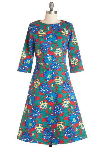 Library Lecture Dress - Multi, Floral, Casual, A-line, 3/4 Sleeve, Woven, Better, Scoop, Long