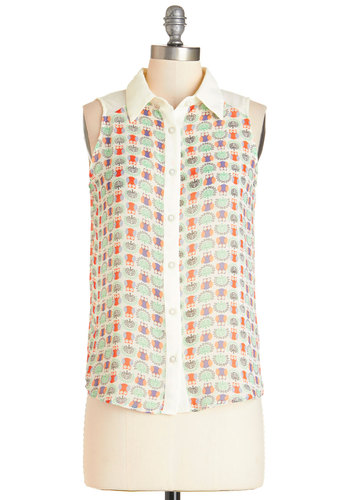 Hoot on the Trail Top - Mid-length, Sheer, Woven, Multi, Print with Animals, Buttons, Casual, Owls, Critters, Sleeveless, Summer, Collared, Multi, Sleeveless, Woodland Creature