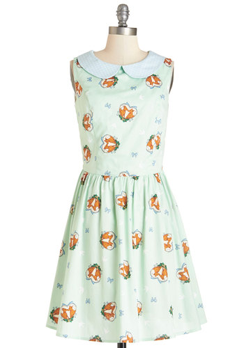 Foxy Flirting Dress - Multi, Print with Animals, Buttons, Casual, Nifty Nerd, A-line, Sleeveless, Summer, Woven, Better, International Designer, Collared, Peter Pan Collar, Quirky, Critters, Mid-length