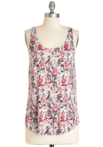 A Life of Loveliness Top - Multi, Sleeveless, Mid-length, Jersey, Knit, Multi, Pink, Grey, Floral, Casual, Tank top (2 thick straps), Summer, Scoop