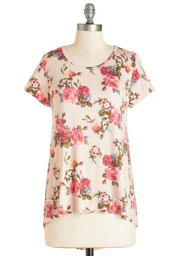 Piece of the Prairie Top in Rose - Mid-length, Jersey, Knit, Pink, Floral, Casual, Short Sleeves, Variation, Scoop, Pink, Short Sleeve