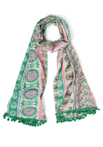 Here and Fair Scarf - Green, Pink, Grey, Print, Trim, Folk Art, Green, Cotton, Woven, Poms, Casual