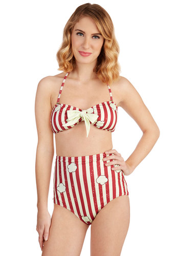 Today's Pop Story Swimsuit Top - Red, White, Stripes, Beach/Resort, Pinup, Vintage Inspired, 50s, Darling, Strapless, Spring, Summer, Knit, Multi, Novelty Print, Bows, Halter, Exclusives