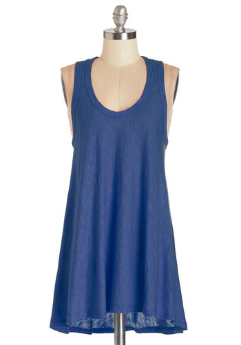 Bold and New Tunic in Cobalt - Mid-length, Knit, Blue, Sleeveless, Blue, Solid, Casual, Sleeveless, Summer, Variation, Scoop