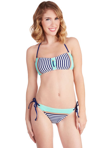 Joined at the Ship Swimsuit Top - Knit, Blue, Stripes, Nautical, Summer, Multi, Beach/Resort