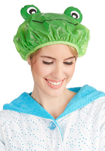 Singing Skills Shower Cap in Frog - Green, Quirky, Critters, Print with Animals, Kawaii