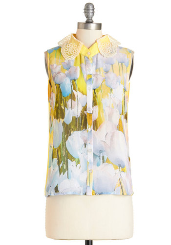 Dashing Day Top - Sheer, Woven, Mid-length, Yellow, Floral, Peter Pan Collar, Work, Daytime Party, Sleeveless, Spring, Summer, Collared, Yellow, Sleeveless, Multi, Lace