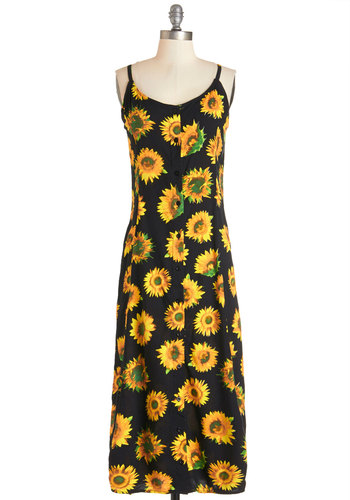 Fun in the Sunflowers Dress by Motel - Festival, Orange, Black, Floral, Buttons, Casual, Sundress, Vintage Inspired, 90s, Tent / Trapeze, Woven, Better, Scoop, Long, Spaghetti Straps, Summer, Boho