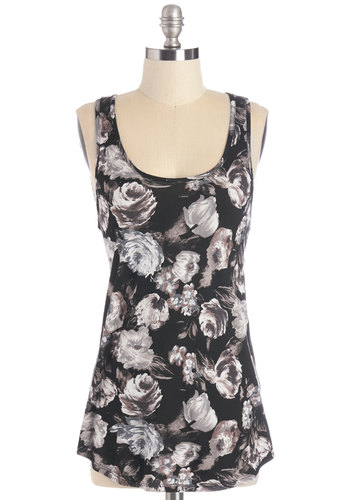 Spring Flowers Top in Black - Black, Sleeveless, Mid-length, Jersey, Knit, Black, Floral, Casual, Tank top (2 thick straps), Racerback, Summer, Variation, Scoop