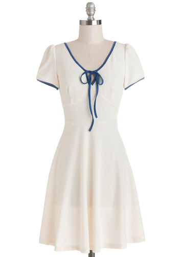 Ivory Little Thing Dress - White, Blue, Solid, Trim, Tie Neck, Casual, A-line, Short Sleeves, Good, Mid-length, Knit, Vintage Inspired, 40s