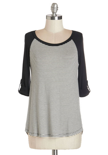 Skate of Mind Top - Mid-length, Jersey, Knit, Black, Stripes, Casual, 3/4 Sleeve, Black, Tab Sleeve, White, Scoop