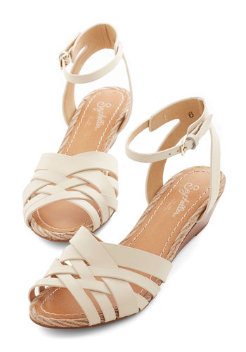 Little Closer Wedge in Off White by Seychelles - Mid, Leather, White, Solid, Daytime Party, Spring, Summer, Wedge, Variation