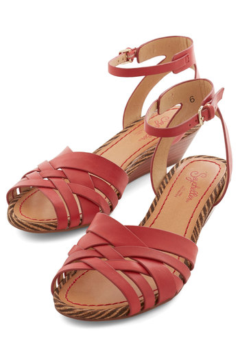 Little Closer Wedge in Red by Seychelles - Mid, Leather, Red, Solid, Daytime Party, Wedge, Variation