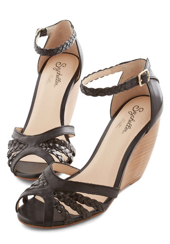 Like a Lady Wedge in Black by Seychelles - Mid, Leather, Black, Solid, Braided, Party, Daytime Party, Better, Wedge, Variation