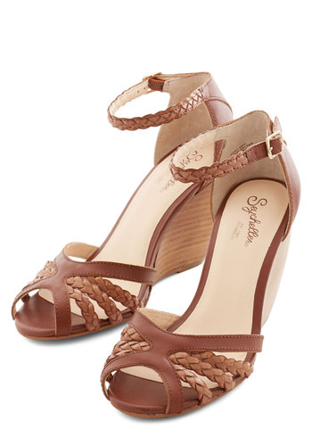 Like a Lady Wedge in Whiskey by Seychelles - Mid, Leather, Brown, Solid, Braided, Wedding, Party, Daytime Party, Better, Wedge, Variation