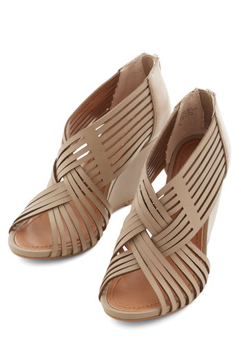 Get To Know Me Wedge in Taupe by Seychelles - Mid, Leather, Grey, Solid, Party, Daytime Party, Best, Strappy, Wedge