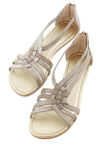 Middle of The Night Sandal in Metallic Leather by Seychelles - Flat, Leather, Suede, Silver, Solid, Casual, Variation