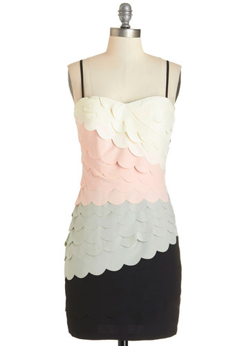 Tier Me Out Dress - Multi, Scallops, Party, Colorblocking, Shift, Strapless, Summer, Woven, Better, Mid-length, Sweetheart