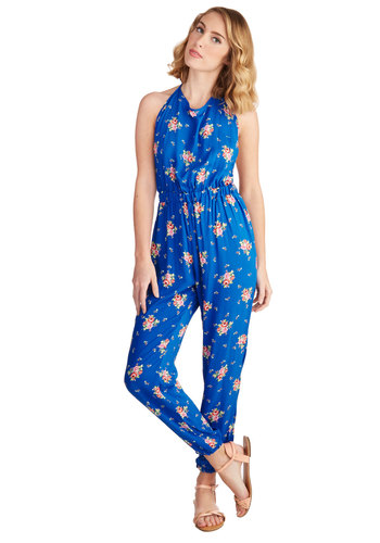 Roses to the Occasion Jumpsuit - Spring, Summer, Better, Ankle, Blue, Jumpsuit, Long, Good, Woven, Blue, Floral, Backless, Casual, Beach/Resort