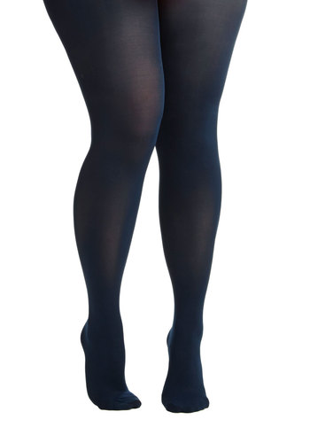 Director to the Point Tights in Plus Size - Knit, Blue, Solid, Basic, Fall, Winter