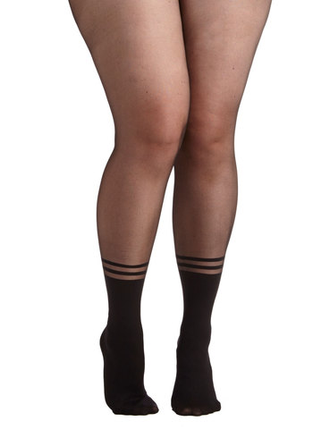 A Kick of Charm Tights in Plus Size - Sheer, Knit, Black