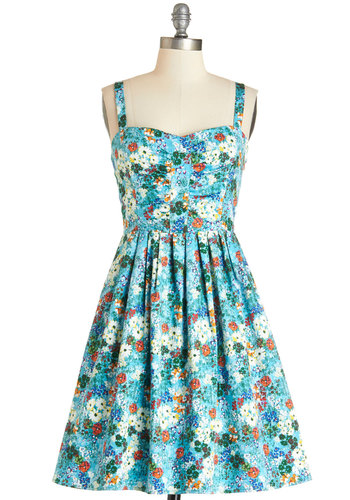 Mount Desert Dreaming Dress in Floral - Multi, Floral, Pleats, Casual, Sundress, A-line, Sleeveless, Summer, Woven, Good, Sweetheart, Mid-length, Blue, Variation
