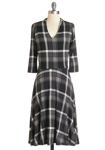 Create Camaraderie Dress - Multi, Plaid, Casual, Nifty Nerd, A-line, 3/4 Sleeve, Better, V Neck, Knit, Scholastic/Collegiate, Work, Fall, Winter, Long
