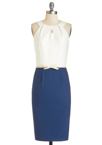 Conference on the Coast Dress - Long, Knit, Blue, White, Belted, Work, Shift, Twofer, Sleeveless