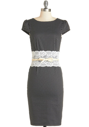 Enamor with Glamour Dress - White, Polka Dots, Lace, Belted, Pinup, Vintage Inspired, 50s, Shift, Cap Sleeves, Woven, Better, Scoop, Long, Black, Work, Daytime Party
