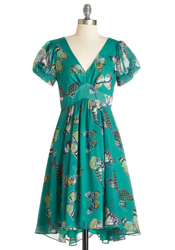 Affinity for Flutter Dress - Multi, Print with Animals, Casual, A-line, Short Sleeves, Woven, Better, V Neck, Mid-length, Green, Critters