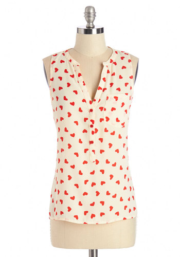 Heart from the Start Top - Cream, Red, Work, Valentine's, Darling, White, Sleeveless, Mid-length, Novelty Print, Buttons, Pockets