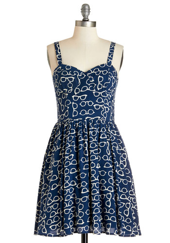 Take a Look-See Dress - Blue, White, Novelty Print, Casual, Sundress, Americana, A-line, Sleeveless, Summer, Woven, Good, Sweetheart, Short, Scholastic/Collegiate, Nifty Nerd