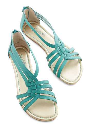 Middle of The Night Sandal in Teal by Seychelles - Flat, Faux Leather, Green, Solid, Beach/Resort, Boho, Summer, Better, Variation