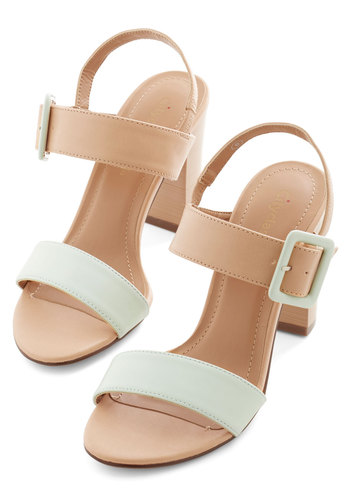 Morning Matrimony Heel - Mid, Faux Leather, Tan / Cream, Solid, Buckles, Wedding, Party, Daytime Party, Pastel, Colorblocking, Good, Chunky heel, Slingback, Mint, Top Rated