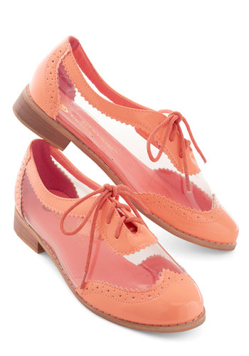 Clearly Now Flat - Low, Coral, Solid, Scallops, Menswear Inspired, Vintage Inspired, 20s, Good, Lace Up