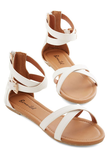 Crisscross My Path Sandal - Flat, Faux Leather, White, Solid, Beach/Resort, Summer, Good, Casual